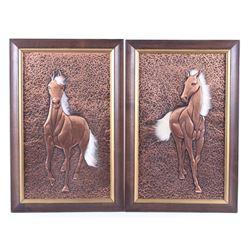 Tooled Copper Framed Horse Art Set
