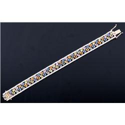 16.53 ct Multi-Colored Sapphire & Diamond Bracelet