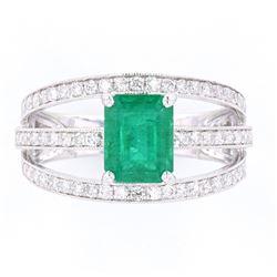 Green Emerald & Diamond Graceful Set Platinum Ring
