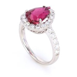 Rubellite Tourmaline & Diamond Halo Platinum Ring