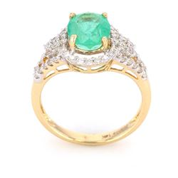 Green Emerald & Diamond 14K Gold Ring