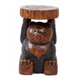 Carved Wood Bear Pedestal