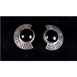 Zuni Onyx & Sterling Silver Earrings