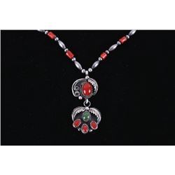Navajo Branch Coral & Sterling Silver Necklace