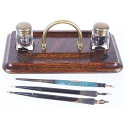 1920's Pen & Inkwell Oak & Brass Desk Set