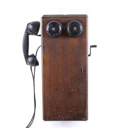 Northern Electric Oak Wall Mounted Crank Telephone