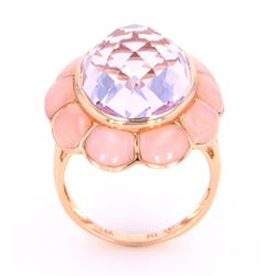 Amethyst and Pink Opal 14K Gold Ring