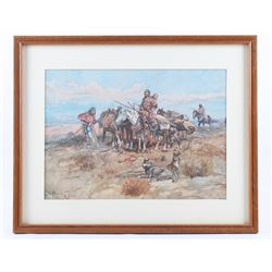 Charles M. Russell Indian Women Traveling Print