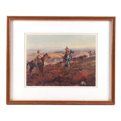 Charlie Russell 'Toll Collectors' Framed Print