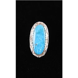 Navajo Fox Turquoise Sterling Silver Ring