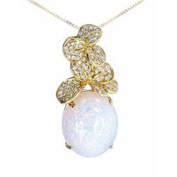 Diamond Set Floral & Ethiopian Opal 14K Necklace