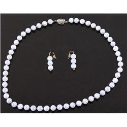 Navajo Lavender Lace Agate Necklace & Earring Set