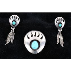 Navajo Silver & Turquoise Bear Claw Jewelry Set