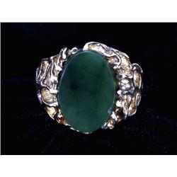 Jadeite Sterling & Gold Sandcast Men's Ring