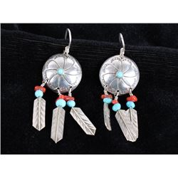 Navajo Silver Turquoise & Ox Blood Coral Earrings