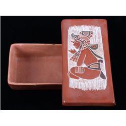 Acoma Native American Tourist Keepsake Pottery Box