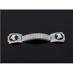 Zuni I. Simplicio Silver Horse Mosaic Watch Band