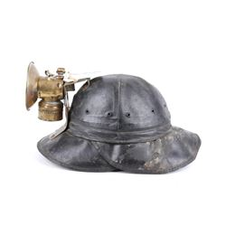 Rare Miner's Hard Hat with Justrite Carbide Lamp