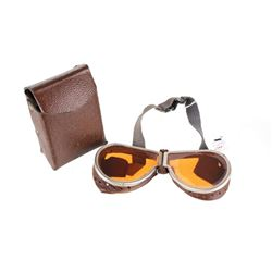 World War II Leather Folding Dust Goggles w/ Case