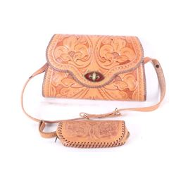 Hand Tooled Leather Purse & Coin Purse