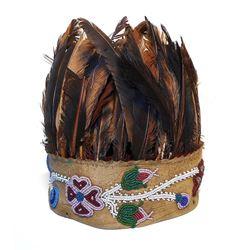 Chippewa Feathered Beaded Hide Dance Headdress