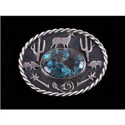 Navajo Pilot Mountain & Sterling Silver Effigy Pin