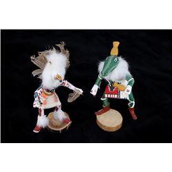 Hopi Hand Carved Signed Kachina Owl & Squash Dolls