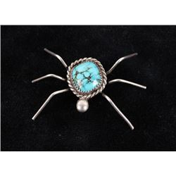 Navajo Silver & Turquoise Spider/Bug Fetish Pin