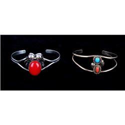 Navajo Split Band & Stone Signed Bracelets