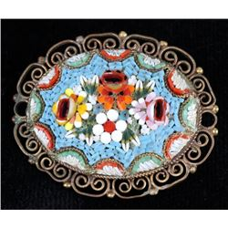 Vintage Micro Mosaic Glass Flower Filigree Brooch