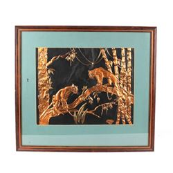 1949 Copper Jungle Cats Framed Scene by Margie