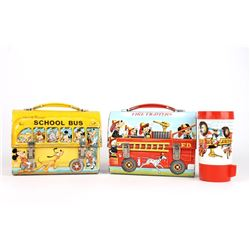 Vintage Walt Disney Domed Lunch Box Set
