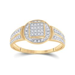 Womens Round Diamond Circle Frame Cluster Ring 1/5 Cttw 10kt Yellow Gold - REF-12H5R