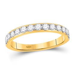 Womens Round Diamond Wedding Single Row Band 1/2 Cttw 14kt Yellow Gold - REF-38K9Y