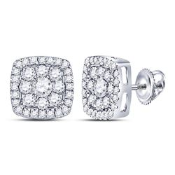 Womens Round Diamond Square Cluster Earrings 1-1/4 Cttw 14kt White Gold - REF-71Y9N