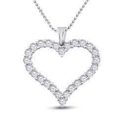Womens Round Diamond Outline Heart Pendant 2 Cttw 14kt White Gold - REF-107R5X