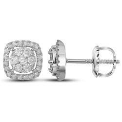 Womens Round Diamond Flower Cluster Square Frame Earrings 3/8 Cttw 14kt White Gold - REF-30W9K