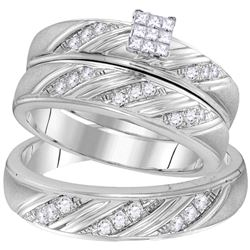 His Hers Princess Diamond Cluster Matching Wedding Set 3/8 Cttw 10kt White Gold - REF-46H9R