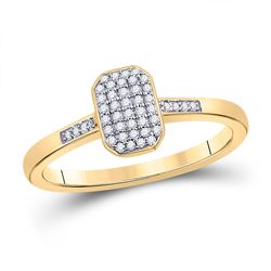 Womens Round Diamond Rectangle Cluster Ring 1/8 Cttw 10kt Yellow Gold - REF-16M9H