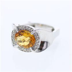 3.32 CTW Citrine & Diamond Ring 14K White Gold - REF-64Y3X