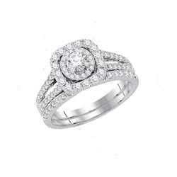 Round Diamond Bridal Wedding Ring Band Set 1-1/2 Cttw 14kt White Gold - REF-189F5W