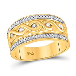 Womens Round Diamond Twist Scroll Band Ring 1/4 Cttw 10kt Yellow Gold - REF-25W9K