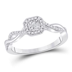 Womens Round Diamond Twist Halo Promise Ring 1/5 Cttw 10kt White Gold - REF-24A5M