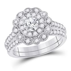 Round Diamond Bridal Wedding Ring Band Set 1-1/4 Cttw 14kt White Gold - REF-173R9X