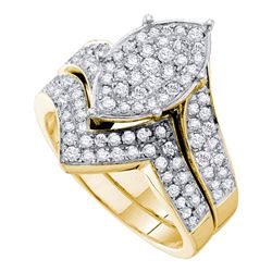 Round Diamond Bridal Wedding Ring Band Set 1 Cttw 14kt Yellow Gold - REF-102K9Y