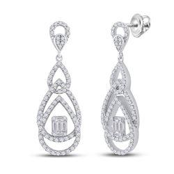 Womens Baguette Diamond Teardrop Dangle Earrings 1-1/2 Cttw 14kt White Gold - REF-142W5K