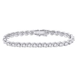 Womens Round Diamond Studded Tennis Bracelet 4 Cttw 14kt White Gold - REF-329F5W