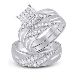 His Hers Round Diamond Square Matching Wedding Set 5/8 Cttw 10kt White Gold - REF-54F5W