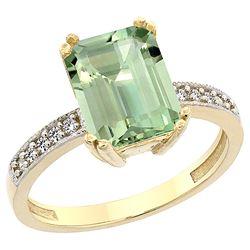 3.70 CTW Amethyst & Diamond Ring 14K Yellow Gold - REF-40M2K