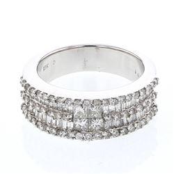 1.4 CTW Diamond Ring 18K White Gold - REF-179F9N